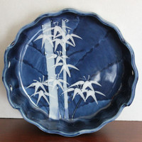 Oriental Porcelain Flow Blue & White Japanese Bamboo Bowl, Asian Ceramic Dish, Made in Japan