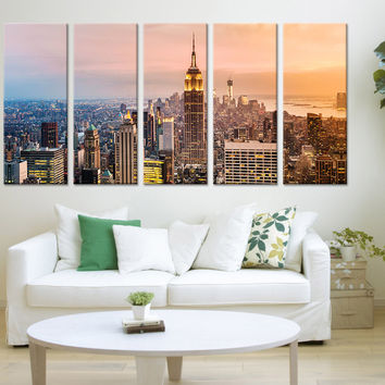 City Wall Art - New York City Sunset Canvas Print, New York Night Wall Art Canvas Print - New York City View Large Canvas Print