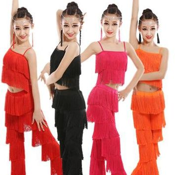 Samba tassel Latin dancewear costumes Girls Salsa ballroom Fringe trim dance Tops&Pants costume Adult Ballroom dancing dress