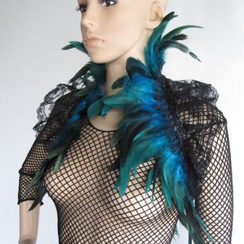 Feather Lace Stole Wrap Shrug Capelet Collar Turquoise Gothic Burlesque Bohemian