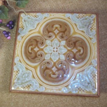 Vintage Tile Trivet Wood Framed Footed Table Protector Style in Tile Made in California 1970's Artistic Boho Design