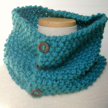 Hand Knit Button Up/ button down Cowl Scarf by WindyCityKnits