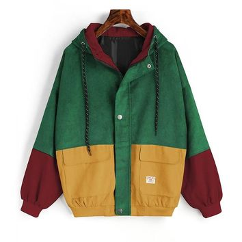 Winter Warm Color Block Hooded Corduroy Jacket Drawstring Hit Color Patched Pocket Thick Basic Women Coat Harajuku New