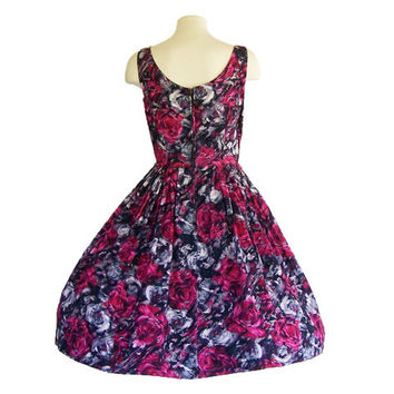 1950s Cotton Dress Vintage Sundress Rose Floral Watery Print S