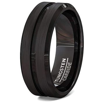 Men's Black Tungsten Wedding Ring Brushed Finish With Groove Center and Beveled Edges - 8mm