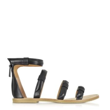 Marc by Marc Jacobs Designer Shoes Seditionary Black Leather Flat Sandal