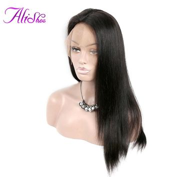 Alishes Straight Wig Lace Front Human Hair Wigs For Black Women Peruvian Lace Wigs Pre Plucked With Baby Hair And Bangs Remy