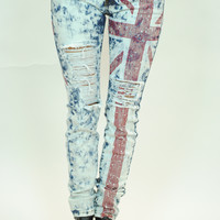 (anm) wash Union jack acid wash jeans