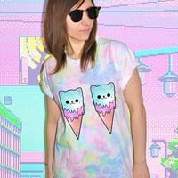 CAT ICE CREAM tie dye t shirt 90s cute grunge festival from FLUXDEUX