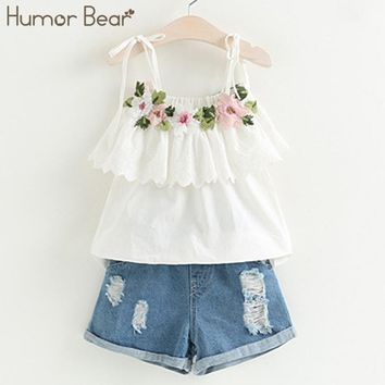 Humor Bear 2017 New Fashion Style Girls Clothing Sets Embroidery Design T-shirt + Jeans Children Clothes Kids Clothes Sets