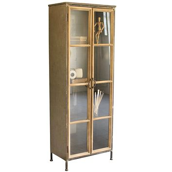 Wood & Metal Cabinet with Glass Doors