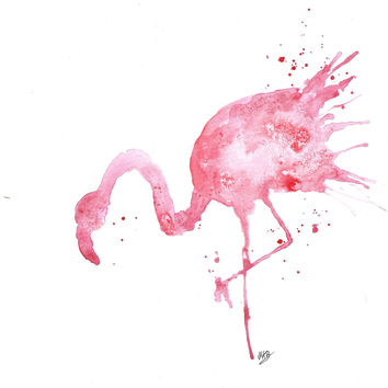 Original Watercolor Pink Flamingo Painting