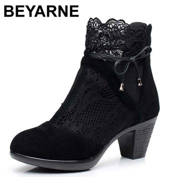 BEYARNE Genuine leather spring and autumn martin boots medium hells shoes women's