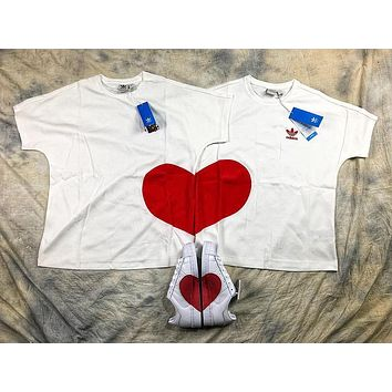 Adidas Love Embroidery Couple T Shirt