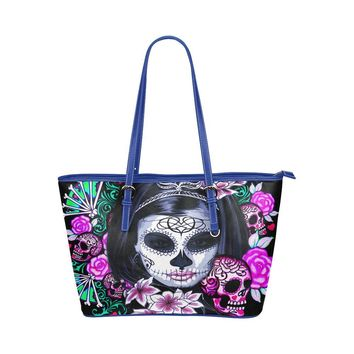 Hip Water Resistant Small Leather Tote Bags Sugar Skull #8 (5 colors)