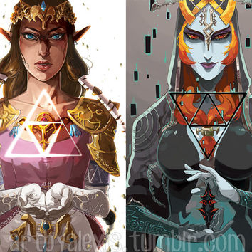 Legend of Zelda Twilight Princess Zelda and Midna Prints
