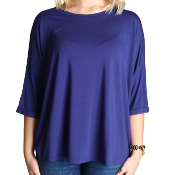 Dark Blue Piko Loose Sleeve Top