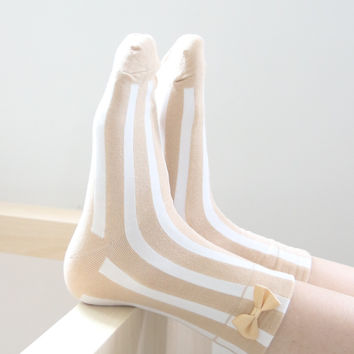 Bow Striped Socks - Beige