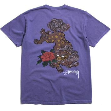 Fu Dog Pigment Dyed T-Shirt Purple
