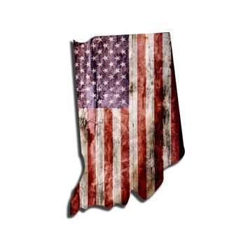 Indiana Distressed Tattered Subdued USA American Flag Vinyl Sticker