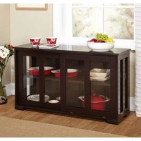 Sliding Glass Doors Stackable Storage Cabinet, Espresso - Walmart.com