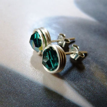 Emerald green Swarovski stud earrings, wrapped post earrings, Sterling silver handmade tiny earring studs