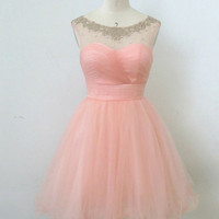 Cheap Ball Gown Round Neckline Mini Homecoming Dress, prom dress, short homecoming prom dress, formal dress