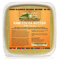 Bulk Raw Cocoa Butter (32 oz) with RECIPE EBOOK - Perfect for All Your DIY Home Recipes Like Soap Making, Lotion, Shampoo, Lip Balm & Hand Cream - Unrefined Organic Cacao Butter Good for Stretch Marks