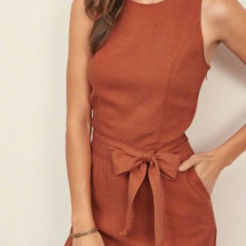 Brown Sleeveless Open Back Bow Tie Jumpsuit