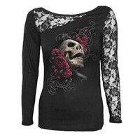 Women Blouse Skull Print Long Sleeves Lace Patchwork Sexy Cotton T-shirt ZB6068 [9324248196]