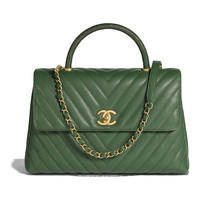 Grained Calfskin, Lizard & Gold-Tone Metal Dark Green Large Flap Bag with Top Handle | CHANEL