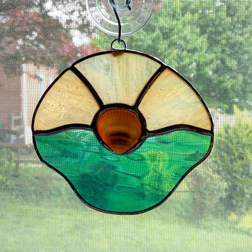 Stained Glass Shell Suncatcher - Beach Decor - Coastal Decor - Nautical Decor - Hostess Gift - Sea Shell Ornament - Clam Shell Decoration