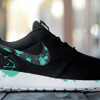 Custom Nike Roshe Run sneakers, Paint Spill, Splatter, black and teal design