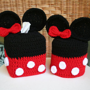 Disney Minnie Mouse Crochet Tissue Box and Toilet Paper Roll Cover Set