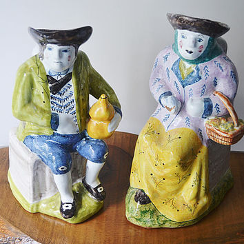 Vintage Portuguese Reproduction Pottery Jugs, Man And Woman Pitchers, Authorized Copies Of 18th Century Pottery