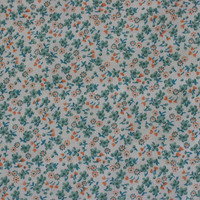 Vintage Fabric Green & Orange Flowers Calico - 3 YARDS, 2 INCHES