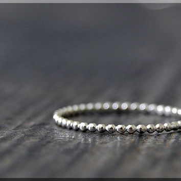 Ultra Thin Beaded Sterling Silver Ring, Sterling Silver Stacking Ring, Full Bead Sterling Ring, Beaded Silver Ring, Stacking ring