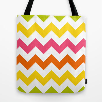 Summer Pastel Chevron Stripes Tote Bag by KCavender Designs
