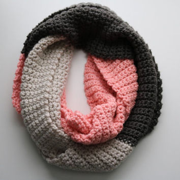 Double Wrap Wide and Thick Pink, Grey and Cream Crochet Infinity Scarf