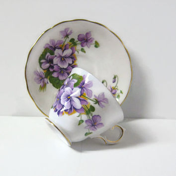 Vintage Royal Kent Staffordshire England Lavender Flower Series Tea Cup and Saucer