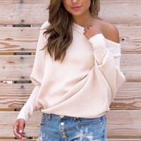 Kail Off The Shoulder Knit Sweater - Cream