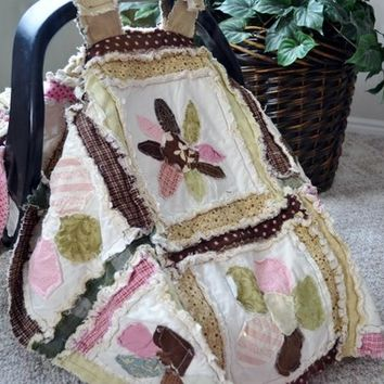 CAR SEAT TENT, Flower Applique, Baby Rag Quilt, 3 in 1 Made to Order