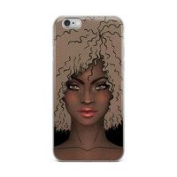 iPHONE CASE Afro Print Natural Hair Curly Hair Custom iPhone Case iPhone X Afrocentric Artwork iPhone 7 African American Curly Hair Woman