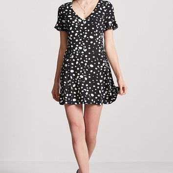 Polka Dot Button-Front Dress