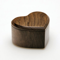 Wooden Engagiment Proposal Ring Box, Heart Shape, Small & Stylish Walnut wood - MADE TO ORDER