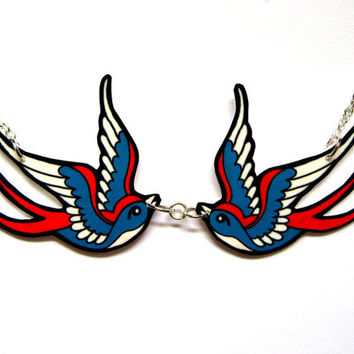 Tattoo Necklace Double Swallow inspired necklace by Dolly Cool Sparrow Twin Two Love Birds Rockabilly 50s