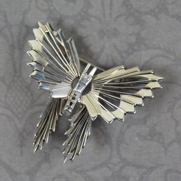 Vintage Mexican Sterling Silver Filigree Wire Butterfly Brooch