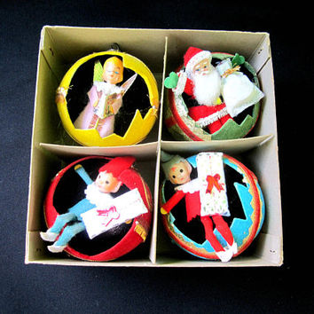 Christmas Ornaments Broken Montgomery Ward 4 Pack Diorama Vintage