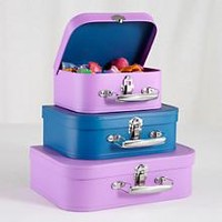 Kids Storage: Purple and Blue Storage Suitcases in Tabletop Storage   The Land of Nod