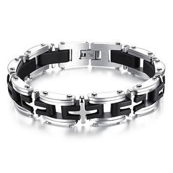 Stainless Steel Cross Bracelets Mens Link Box Chain Accessories 21CM Black Gold color Magnetic Bracelet for Men Male Jewelry